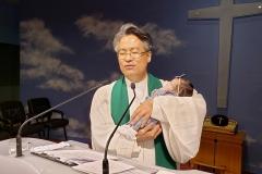 진설 아기 첫 예배 목사님 축복기도